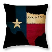 Usa American Texas State Map Outline With Grunge Effect Flag Ins Throw Pillow