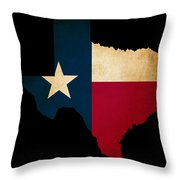 Usa American Texas State Map Outline With Grunge Effect Flag Throw Pillow