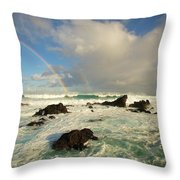 Usa, Hawaii, Rainbow Offshore Throw Pillow