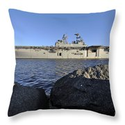 Uss Bataan Arrives At Naval Station Throw Pillow