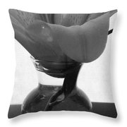 1 V Lily In Vase Bw Throw Pillow