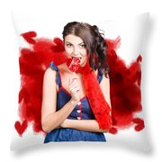 Valentines Day Woman Eating Heart Candy Throw Pillow