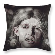 Vampire Woman Holding Flower. Horror Valentine Throw Pillow