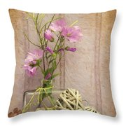 Van Gogh Style Digital Painting Beautiful Flower In Vase With Heart Still Life Love Concept Throw Pillow