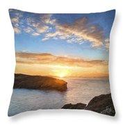 Van Gogh Style Digital Painting Beautiful Vibrant Sunrise Over Rocky Coastline Throw Pillow