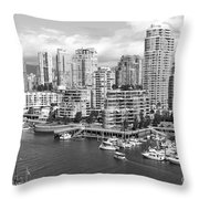 Vancouver Bc Downtown Skyline At False Creek Canada Throw Pillow