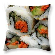 Vegetable Sushi Throw Pillow by Amy Cicconi