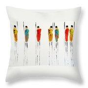 Vibrant Masai Warriors - Original Artwork Throw Pillow