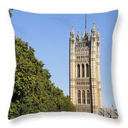 Victoria Tower And The Palace Of Westminster In London England Throw Pillow