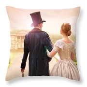 Victorian Couple Walking Towards A Country Estate Throw Pillow