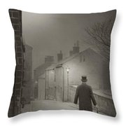 Victorian Or Edwardian Gentleman Walking Down A Cobbled Road At  Throw Pillow