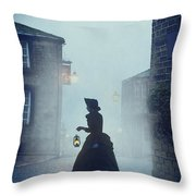 Victorian Woman With An Oil Lamp At Night On A Cobbled Street Throw Pillow