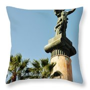 Victory Statue In Puerto Banus Throw Pillow