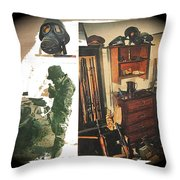 Viet Nam Medic Barry Sadler Weapons Collection Nazi Memorabilia Collage Tucson Arizona 1971-2013 Throw Pillow