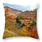 View Along East Side Of Zion-mount Carmel Highway In Zion National Park-utah   Throw Pillow