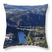 View From Montserrat Mountain Throw Pillow