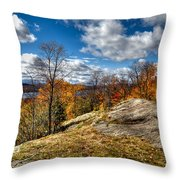 View From The Eagle Bay Rocks Throw Pillow
