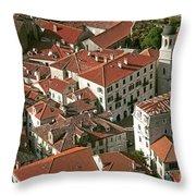 View Of Kotor Town In Montenegro Throw Pillow
