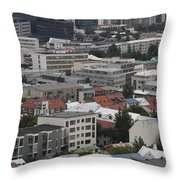 View Of Reykjavik Iceland Throw Pillow