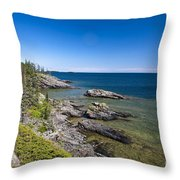 View Of Rock Harbor And Lake Superior Isle Royale National Park Throw Pillow