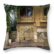 View Of Shops On The Street, Allenby Throw Pillow