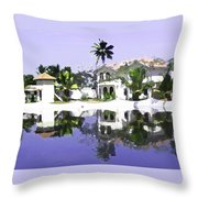 View Of The Cottages And Lagoon Water In Alleppey Throw Pillow
