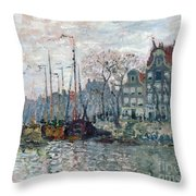View Of The Prins Hendrikkade And The Kromme Waal In Amsterdam Throw Pillow