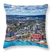 View Of The St. John's Newfoundland From Signal Hill Throw Pillow