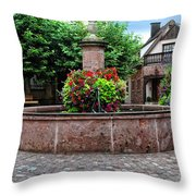 Village Fountain In Provence Throw Pillow
