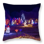 Village In Christmas Lights Panoramic View Throw Pillow