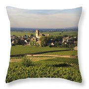 Vineyard And Village Of Pommard. Cote D'or. Route Des Grands Crus. Burgundy. France. Europe Throw Pillow