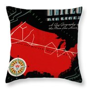 Vintage Airline Ad 1939 Throw Pillow