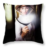 Vintage Archaeologist With Large Magnifying Glass Throw Pillow