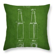 Vintage Beer Bottle Patent Drawing From 1934 - Green Throw Pillow