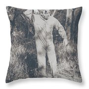 Vintage Black And White Horror Zombie Throw Pillow