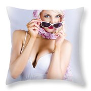 Vintage Blond Beauty In Pinup Fashion Accessories Throw Pillow