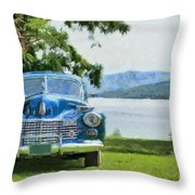 Vintage Blue Caddy At Lake George New York Throw Pillow