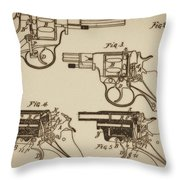 Vintage Colt Revolver Drawing  Throw Pillow