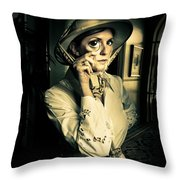 Vintage Explorer With Magnifying Glass Throw Pillow