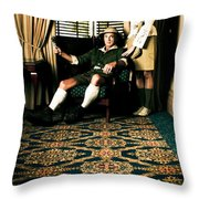Vintage Explorers In Hotel Lobby Throw Pillow