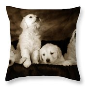 Vintage Festive Puppies Throw Pillow