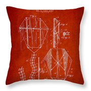 Vintage Folding Kite Patent From 1892 Throw Pillow by Aged Pixel
