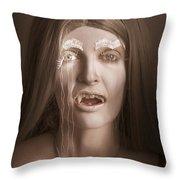 Vintage Halloween Portrait. Gothic Vampire Girl Throw Pillow