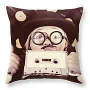 Vintage Music Woman Giving Thumb Up To Retro Songs Throw Pillow