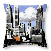 Vintage New York Travel Poster Throw Pillow