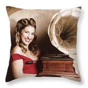 Vintage Pin-up Girl Listening To Record Player Throw Pillow
