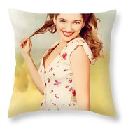 Vintage Pinup Woman With Pretty Make-up And Hair Throw Pillow