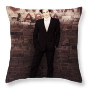 Vintage Salesman Standing In Front Of Brick Wall Throw Pillow