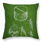 Vintage Snare Drum Patent Drawing From 1889 - Green Throw Pillow