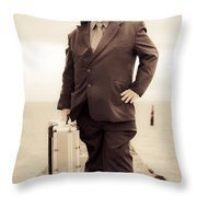 Vintage Traveling Business Man Throw Pillow